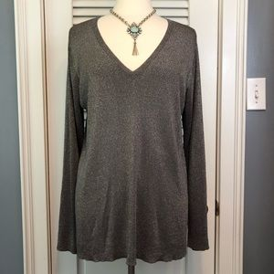 Eileen Fisher Metallic V-Neck Sweater Top XL